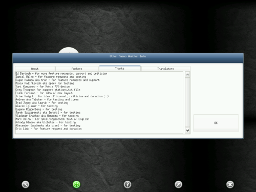 Omweather running on Angstrom as seen through the VNC viewer